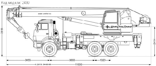 Габаритные размеры автокрана Галичанин на базе КамАЗ