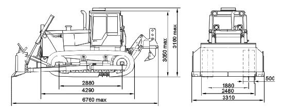 Габаритные размеры бульдозера Т-130, Т 170