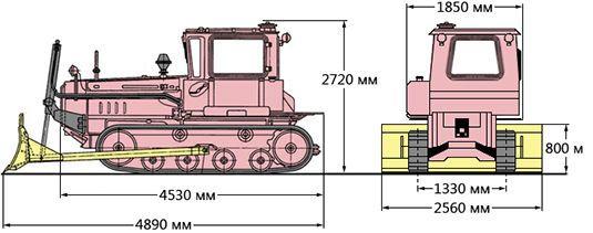 Схема размеров трактора ДТ-75