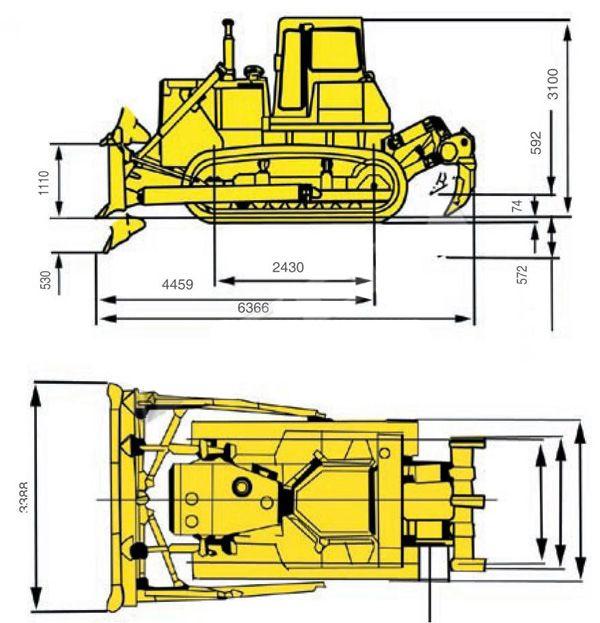 Габаритные размеры бульдозера Shantui SD16
