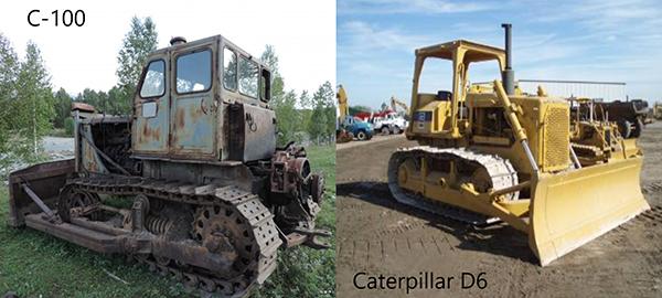 Трактор С-100 и Caterpillar D6
