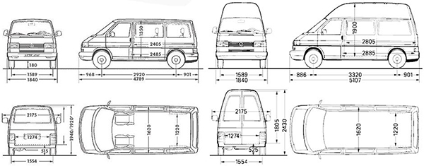 Габаритные размеры Фольксваген Транспортер Т4
