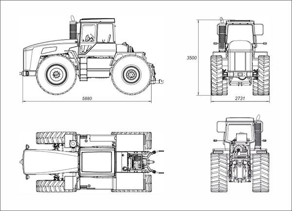 Схема параметров трактора Т-360
