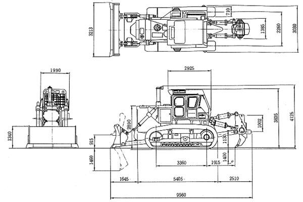 Габаритные размеры бульдозера Komatsu D355