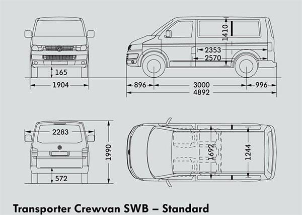 Схема габаритных размеров Volkswagen Transporter T5